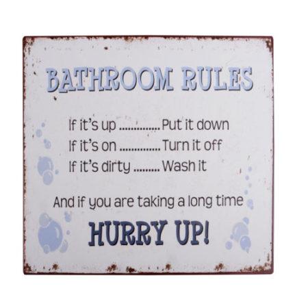 emaljeskilt, badeværelsesregler