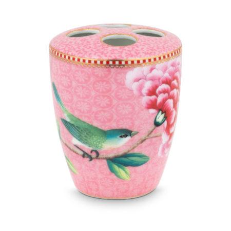 tandbørsteholder,-pink-med-fugle