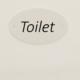 ovalt toiletskilt, hvid aluminium