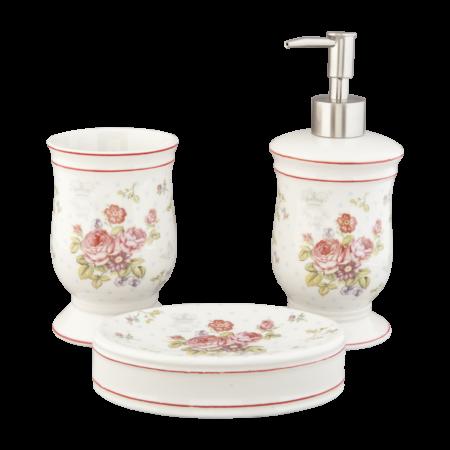 Badeværelsesserie i porcelæn med blomster
