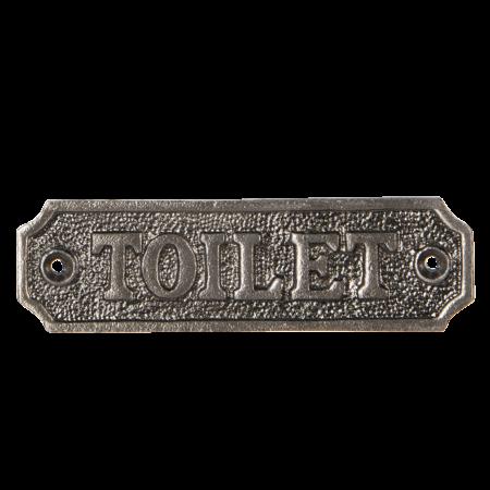 Toiletskilt med skrift i sølv